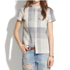 Madewell grey and white plaid top